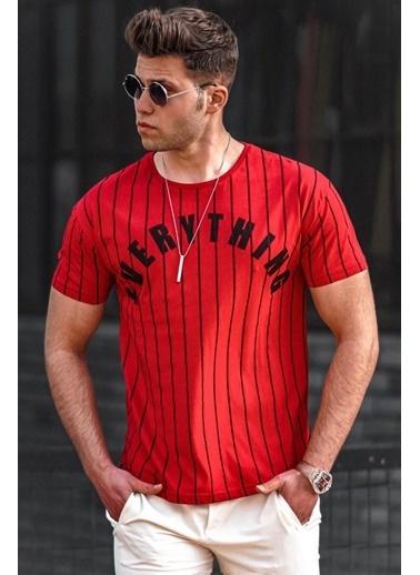 Madmext  Çizgili Baskılı  Tişört 3007 Kırmızı
